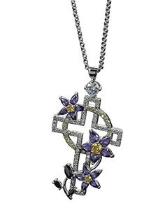 MOOCHI Platinum Plated Copper Jesus Cross Shape Pendant 30 Zircon Stones Embedded Flower Necklace >>> Continue to the product at the image link.