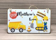 Excited to share the latest addition to my #etsy shop: Personalised Construction Boys Room Sign, Kid's Name Plaque, Bedroom Door Plaque, Boys Door Sign, Construction Name Plaque