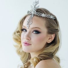 Vienna Luxurious inspired headband halo with high quality cz crystals on a rhodium plated finish.Loops on either end for easy fitting and styling with pins (pins not supplied)This piece is presented in Roman Great Gatsby Wedding, Fall Wedding, Wedding Accessories, Hair Accessories, Flapper Style, Circlet, Bohemian Bride, Wedding Headband, Hair Ornaments