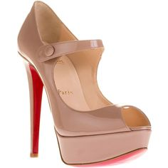 Christian Louboutin Bana 140 patent pump ($825) ❤ liked on Polyvore featuring shoes, pumps, heels, sapatos, christian louboutin, women, nude shoes, platform pumps, high heel pumps and patent pumps
