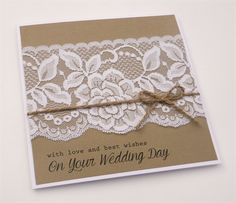 with love and best wishes - Wedding Card - Lace burlap twine