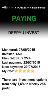 Payment received from Deepyu Invest – 22/07/2015