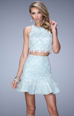 Scoop-Neck White/Mint 2015 Two Piece La Femme 21873 Bodice Short Lace Cocktail Dresses