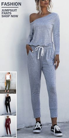 Comfy One Shoulder Drawstring Lounge Jumpsuits Hoplady is a global online store for fast fashion, trendy women clothing for all season. various clothes style for you to choose. Fast Fashion, Trendy Fashion, Womens Fashion, Trendy Clothes For Women, Coats For Women, Mode Outfits, Fashion Outfits, Casual Wear, Casual Outfits