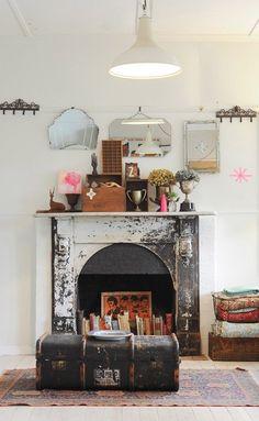 Neon details + Fire place+ vintage suitcase ♥♥♥