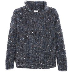 Brunello Cucinelli Sequined chunky-knit turtleneck sweater (£1,510) ❤ liked on Polyvore featuring tops, sweaters, fuzzy sweaters, brunello cucinelli sweater, hand knitted sweaters, blue sweater and turtle neck sweater