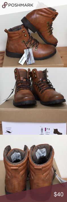 """NIB SonomaBlantonVitalize Men Sz 7.5 or Women Sz 9 Rugged Appeal Strengthen your wardrobe w Classic Men's Boots Poss. Unisex See Chart..Manmade Upper/Outsole. Textile Lining, Ortholite Tech. Enables Air Flow a cool Foot, Wicks Away Moisture, InhibitsOdor&Fungus.Round Toe Lace Up with Top Speed Hooks, Back Pull Loop for Easy On/OffAntiqued Hardware and Durable Treaded Lug Soles. Rich Cognac Color#629 Length 11"""" See Pic. if you measure at top by sole following curve it is approx. 12.5""""...width…"""