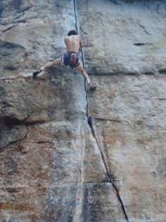 Jordan Mills executes the moves on the Sky Top testpiece Supercrack (5.12c) wearing a swami with leg loops.The Gunks, 1984. From the Rock and Snow BLOG