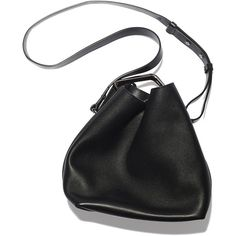 3.1 Phillip Lim Quill Mini Black Bucket Bag Goop ❤ liked on Polyvore featuring bags, handbags, shoulder bags, purses, leather shoulder bag, bucket bag, leather purse, leather handbags and black shoulder bag