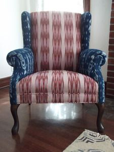 Chair Re Upholstered With Guatemalan Textiles    We Love The Use Of Two  Different
