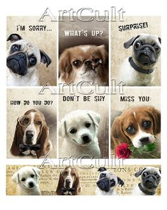 WHIMSICAL DOGS  Printable Digital Collage Sheet gift by ArtCult, $4.99