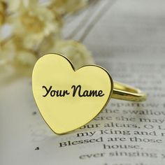Beautiful Love Heart Shape Gold Ring With Your Name