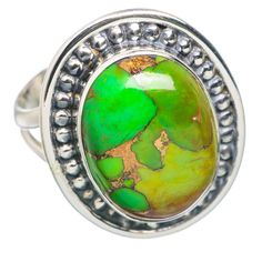 Green Copper Composite Turquoise 925 Sterling Silver Ring Size 7.75 RING769466