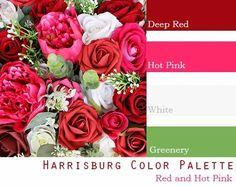$250 Wedding Flower Package in deep red, hot pink Hot Pink Flowers, Red Wedding Flowers, Spring Wedding Colors, Summer Wedding Colors, Wedding Color Combinations, Wedding Color Schemes, Hot Pink Weddings, Spring Color Palette, Wedding Flower Packages