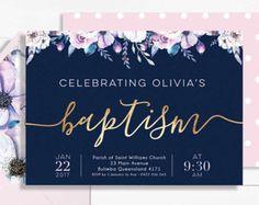 Invitación de niña bautismo bautizo invitaciones imprimibles