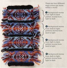 This color study shows how colors can move in a traditional Fair Isle design. Article by Janine Bajus (Feral Knitter) (Photo by Joe Hancock) from Knitting Daily Knitting Daily, Knitting Charts, Double Knitting, Knitting Stitches, Hand Knitting, Motif Fair Isle, Fair Isle Chart, Fair Isle Pattern, Fair Isle Knitting Patterns