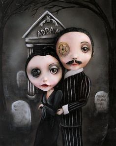 Addams Family Morticia and Gomez Pop Surrealism by michelelynchart
