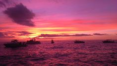 Sunset with 'Big Island Divers' http://www.bigislanddivers.com off of the Kona Coast of Hawaii..