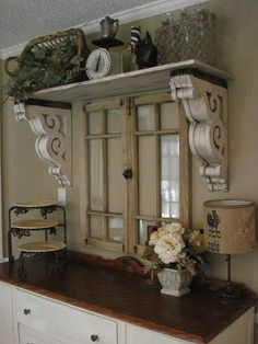 The Red Chandelier: Our First House (Dining Room). Wow, reclaimed window, corbels as shelf supports. this is lovely use of architectural salvage! ❤️ corbels flanking window over kitchen sink! Shabby Chic Decor, Rustic Decor, Farmhouse Decor, Farmhouse Style, Country Style, Salvaged Decor, French Farmhouse, Reclaimed Windows, Shabby Chic Interiors