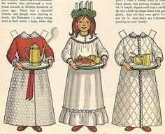 """Vintage Betsy McCall 'Santa Lucia"""" Paper Doll I had this one Mardi Gras, Sankta Lucia, Santa Lucia Day, American Bandstand, Paper Dolls Printable, Nostalgic Images, Vintage Paper Dolls, Scandinavian Christmas, Christmas Fun"""