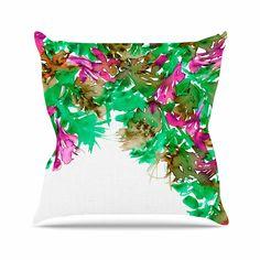 KESS InHouse JD1161AOP03 18 x 18-Inch 'Ebi Emporium Floral Cascade 6 Pink Green' Outdoor Throw Cushion - Multi-Colour