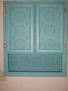 My re-done kitchen cabinets.. paintable wallpaper, mocha & antique ...