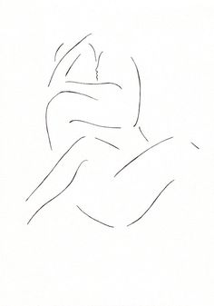 Minimalist black and white lovers drawing. Erotic by siret on Etsy