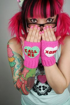 Conversation Heart Fingerless Mitts by twinkie chan. too cute!