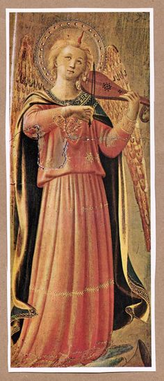 angel playing violin   painting