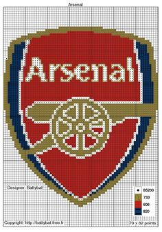arsenal logo x-stitch Crochet Pixel, Crochet Chart, Knitting Paterns, Knitting Charts, Modern Cross Stitch Patterns, Cross Stitch Designs, Hama Beads Patterns, Beading Patterns, Hamma Beads Ideas