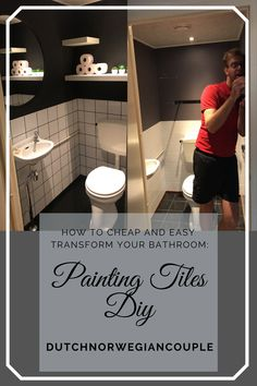 Painting tiles, is something that some people believe will work. And some people totally don't believe. We're here to tell you that it works. Painting Tiles, Laminate Flooring, Diy Hacks, Easy Diy Projects, Home Renovation, Bathroom, Modern, People, Ideas