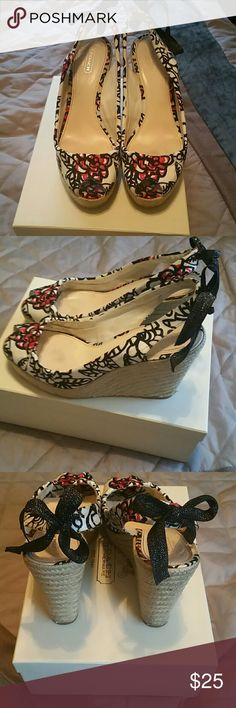 Coach esperillas Black/white with pink slingbacks Coach Shoes Wedges