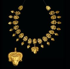 Greek gold necklace with Rams head 4th century B.C.