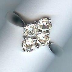 Wonderful 4-Stone Diamond Ring Vintage Diamond, Vintage Silver, Vintage Brooches, Vintage Earrings, Bangle Bracelets, Bangles, Diamond Dreams, Ring Settings, Chain Pendants