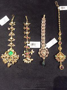Gold Nethichutti Designs, Gold Tikka Designs, Gold Maang Tikka Designs.