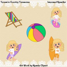 #Surfing #Girls with Curly Blonde Hair #Clipart