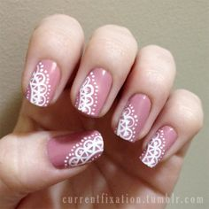 """Lace nails.Sorry for the dodgy shot ;)  Pink: Rimmel Lycra Wear 10 """"Ash Rose""""White: Acrylic paint"""