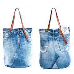 recycled denim jean tote