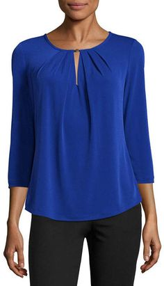 Couture Tops, Spandex Fabric, Liz Claiborne, Sleeve Styles, Crew Neck, Tunic Tops, My Style, Long Sleeve, Sleeves