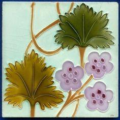 Jugendstil Fliese, Art Nouveau Tile, Tegel, MORIALME, Blume Ranke Flower Tendril