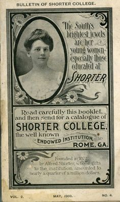 """This 1903 bulletin from Shorter College of Rome, GA [""""The South's brightest jewels are her young women--especially those educated at Shorter""""] contains numerous photographs of school facilities. Among other photos are views of the music studio, library, 2 of the gymnasium showing students exercising, 3 of dorm rooms, 2 of the chemistry lab, and the art studio."""