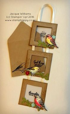 handmade greeting card using Best Birds ,,, three connected frames with stamping on acrylic sheets and a colored and die cut bird in the corner . hanging framed card great for home decor .Stampin' Up! Fancy Fold Cards, Folded Cards, Handmade Greetings, Greeting Cards Handmade, Bird Cards, Pop Up Cards, Handmade Home Decor, Creative Cards, Homemade Cards