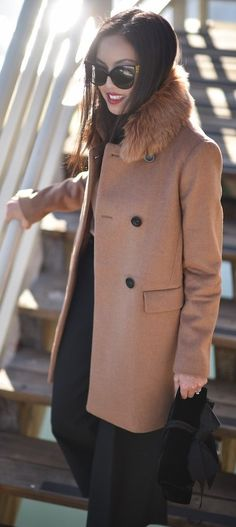#winter #fashion /  Camel Coat   Black Pants