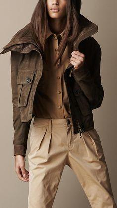 Burberry Brit Nubuck Leather Cropped Jacket