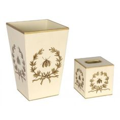 THE WELL APPOINTED HOUSE - Luxury Home Decor- Napoleonic Gold Bee in Garland on Ivory Wastebasket and Tissue Box Set