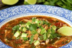 With layers of fabulous flavor this Turkey Tortilla Soup is perfect for leftover turkey (or chicken). It's not only delicious but also super healthy! Got turkey? We gotcha covered! This Turkey Tortill Best Turkey, Chicken Tortilla Soup, Leftover Turkey, Gluten Free Chicken, Turkey Recipes, Soups And Stews, Stuffed Peppers, Meals, Cooking