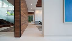 Warm wood and textured wall/fireplace