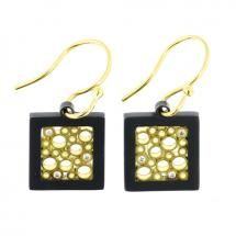 Cielo Collection square Earrings created in black Silver and 18 karat yellow Gold with .06 carats total weight of Diamonds by Belle Brooke.