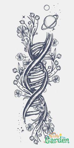 DNA chain and Art Nouveau tattoo flowers. Symbol of art, science, knowledge, medicine, Dev . Art Nouveau Tattoo, Tatuagem Art Nouveau, Colorful Drawings, Easy Drawings, Tattoo Drawings, Bee Drawing, Drawing Lips, Drawing Ideas, Art Du Croquis