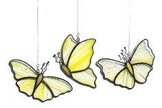 stained glass butterfly suncatcher, stain glass yellow butterflies on Etsy #StainedGlassButterfly